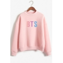 New Stylish Kpop Gradient Letter Logo Printed Mock Neck Long Sleeve Pullover Sweatshirt