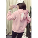 Cute Plain Rabbit's Ears Embellished Long Sleeve Hoodie
