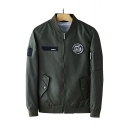 New Arrival Popular Stand Collar Long Sleeve Badge Patched Pocket Detail Baseball Jacket