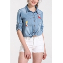 TO ENJOY ALL Letter Cartoon Print Chest Pockets Single Breasted Over Shirt Denim Jacket