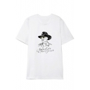 Simple Letter Portrait Printed Round Neck Short Sleeve White Cotton Tee