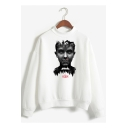 New Trendy Letter Figure Printed Mock Neck Long Sleeve Pullover Sweatshirt