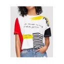 New Stylish POWURME Letter Print Colorblock Round Neck Short Sleeve Loose T-Shirt