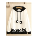 New Trendy Color Block Embroidered Cute Cat Ears Hooded Sweatshirt