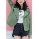 Notched Lapel Collar Army Green Solid Color Zip Up Workwear Denim Jacket