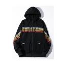 Men's Stylish Letter Print Long Sleeve Zip Placket Pockets Hooded Hip Hop Style Loose Jacket