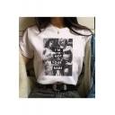 New Trendy I'M NOT YOUR BABE Letter Figure Printed Round Neck Short Sleeve T-Shirt