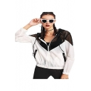 Two Tone Mesh Panel Hooded Sun Protection Coat Jacket