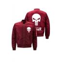 Mens New Arrival Popular Skull Print Zip Closure Long Sleeve Stand Collar Bomber Jacket