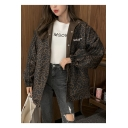 Simple Letter Print Lapel Collar Long Sleeve Stretch Cuffs Reversible Oversized Jacket