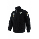 Mens Hot Fashion Embroidery Eagle Print Stand Collar Long Sleeve Zip Up Casual Jacket