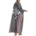 Tribal Print Split-Side Long Sun Protect Vintage Coat