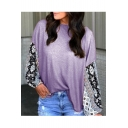 Womens Fancy Colorblock Tribal Print Round Neck Long Sleeve Casual Loose Tee