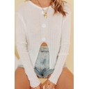 New Fashion Round Neck Long Sleeve Simple Plain Casual Split Knitwear T-Shirt