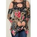 Womens Chic Floral Print Round Neck Long Sleeve Cutout Detail Irregular Black Tunic T-Shirt