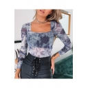 Tie Dye Print Long Sleeve Square Neck Mesh Patched Casual Purple T-Shirt
