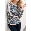 Womens New Fashion Round Neck Long Sleeve Leopard Print Pullover T-Shirt