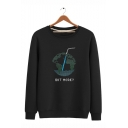 Trendy Earth GOT MORE Letter Printed Round Neck Long Sleeve Unisex Casual Pullover Sweatshirts