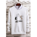 Cute Cartoon Dog Letter WIFI FINDER Printed Round Neck Long Sleeve Casual Pullover Sweatshirts