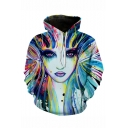 Creative Fashion Colored Face 3D Printed Blue and White Long Sleeve Loose Drawstring Hoodie