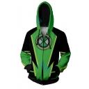 Classic Comic Ben 10 Alien Force 3D Printed Cosplay Costume Green and Black Long Sleeve Zip Up Hoodie