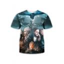 Popular Film Figure 3D Printed Basic Round Neck Short Sleeve Blue T-Shirt