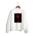 Horrible IT Clown Figure Pattern Mock Neck Long Sleeve Unisex Leisure Sweatshirt