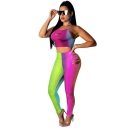 Womens sexy Ombre Print Rips Strap Crop Tops High Waist Workout Pants Two Piece Set