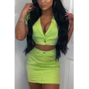Hot Sale Sexy Fluorescence Color Hardware V-Neck Short Sleeve Crop Coat Zipper and Button Fly Tube Skirt Two Piece Set