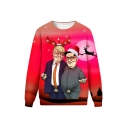 Christmas Funny Trump 3D Printed Round Neck Long Sleeve Red Pullover Sweatshirts
