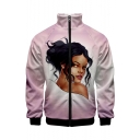 Mens Stylish Unique Figure Print Stand Collar Long Sleeve Zip Up Pink Baseball Jacket