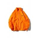 Guys New Style Fashion Logo Pattern Ribbon Long Sleeve Zip Up Stand Collar Jacket Coat