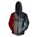 Torgue Checkerboard 3D Comic Cosplay Costume Long Sleeve Grey and Red Zip Up Hoodie