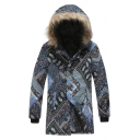 Men's New Tredny Tribal Print Single Breasted Long Sleeve Hood Concealed Longline Black Padded Coat