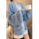 Ladies Boxy Plain Tassel Knit Bloomer Sleeve Open Front Cardigan
