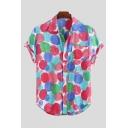 Mens Summer Stylish Polka Dot Printed Short Sleeve Lapel Collar Loose Pink Shirt