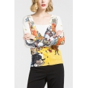 Hot Popular Cartoon Graffiti Print V Neck Long Sleeve Cardigan for Women