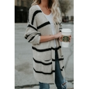 Womens Fashion Strip Print Drop Sleeve Open Front Cardigan with Pockets
