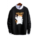 Cute Cartoon Cat Letter HEART Printed Long Sleeve Round Neck Mens Casual Pullover Sweatshirts