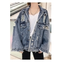 Boxy Lapel Collar Frayed Flap Pockets Shredded Holes Light Blue Denim Jacket Coat