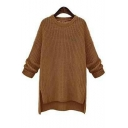 Womens Off-Duty Plain Round Neck Drop Sleeve Split Sides Sweater