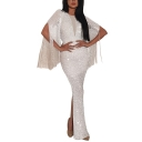 Women's New Fashion V-Neck Short Sleeve Tassel Sequined Slit Hybrid Maxi Bodycon Dress