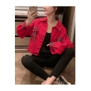 Red Lapel Collar Plaid Pattern Panel Pockets Long Sleeve Street Style Cropped Jacket Coat