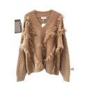 Ladies Stylish Plain Tassel Print V-Neck Long Sleeve Loose Sweater