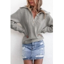 Hot Popular Plain Roll Neck Zipper Batwing Chenille Boxy Sweater for Women