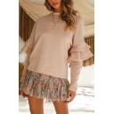 Hot Popular New Apricot Plain Round Neck Ruffle Hem Long Sleeve Sweater for Women