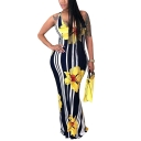 New Fashion V-Neck Sleeveless Floral Printed Striped Open Back Maxi Bodycon Dress