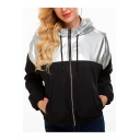 Sliver Metallic Panel Drawstring Hooded Long Sleeve Pocket Zipper Jacket Coat