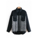 Check Plaid Panel Lapel Collar Chest Pockets Long Sleeve Raw Edges Regular Fit Denim Jean Jacket
