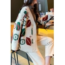 Christmas Style Laid Back V-Neck Print Single Button Cardigan Coat for Women